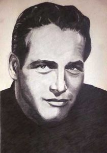 Retrato a lápiz del actor Paul Newman