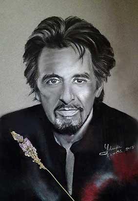 Retrato a carboncillo del actor Al Pacino