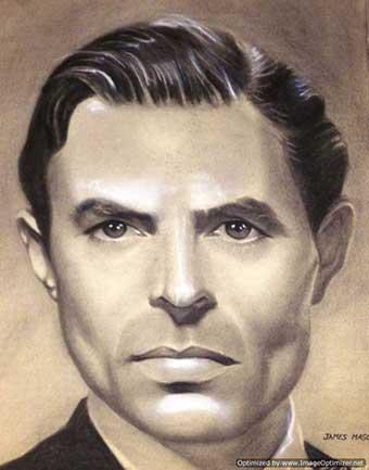Retrato a lápiz y carboncillo del actor James MASON