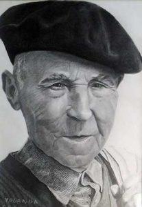 Retrato a lápiz y carboncillo de mi abuelo
