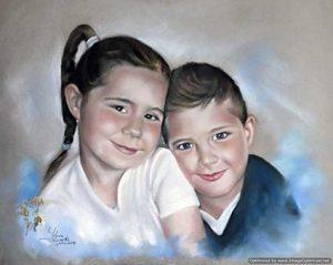 Retratoa pastel de dos hermanos