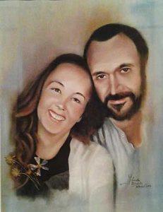 Retrato a pastel de Petri y Serkan
