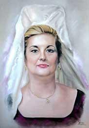 Retrato a pastel de señora