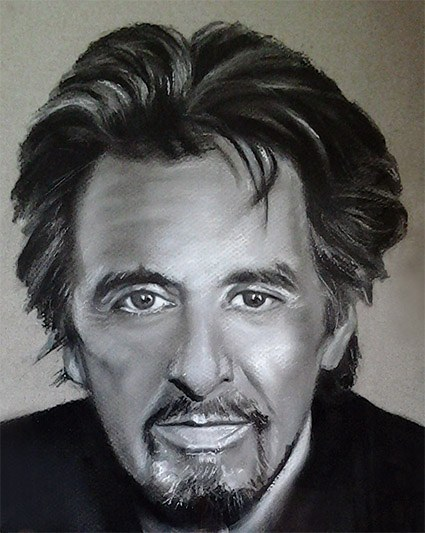 retrato a carboncillo del actor Al Pacino