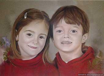 Retrato a pastel de dos hermanos