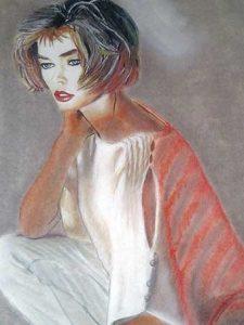 Retrato a pastel de mujer