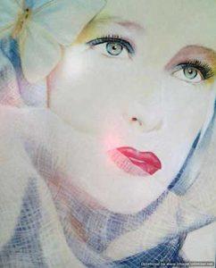 Retrato a pastel de mujer con velo
