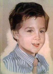 Retrato a pastel de Dario con 4 años