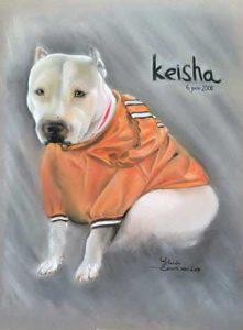 Retrato a pastel de mascota Keisha