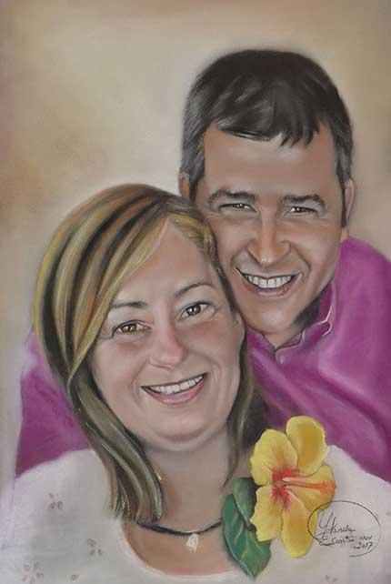 Retrato a pastel como regalo de boda María Elena y Juan