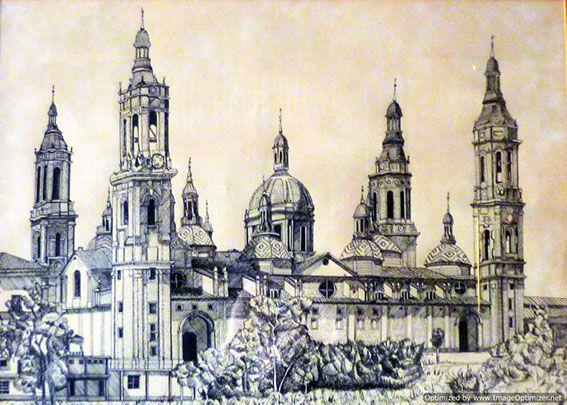 Dibujo a lápiz de la Basílica de El Pilar