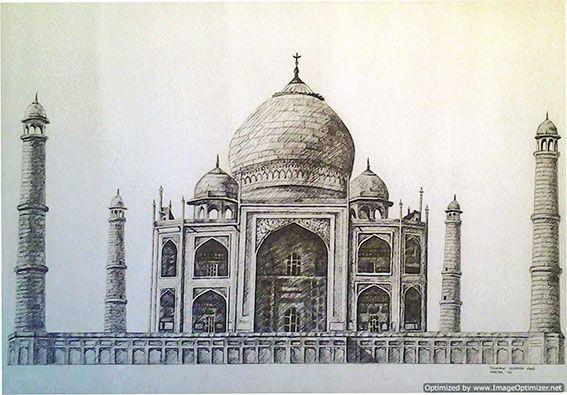 Dibujo a lápiz y tinta del Taj Mahal