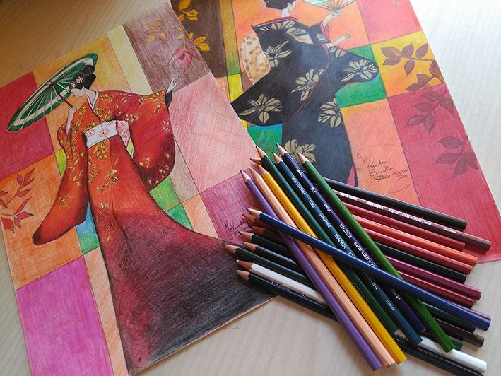 Dibujos de geishas pintados con pinturas de madera
