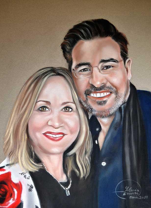 Retrato a pastel doble de pareja