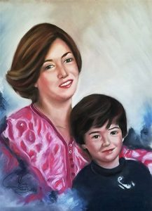 Retrato a pastel de madre e hijo