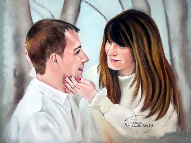 Retrato a pastel de pareja enamorada