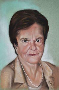 Retrato a pastel señora de 90 años