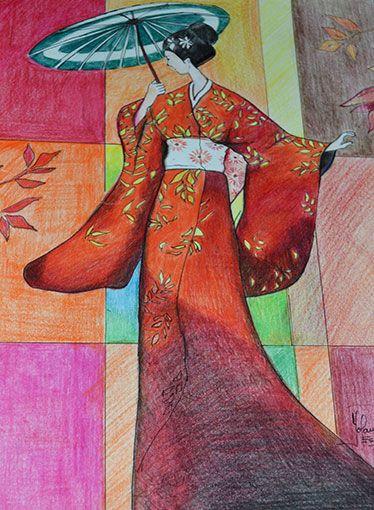 Geisha con pinturas de madera prismacolor