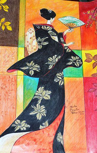 Geisha pintada con lápices de madera prismacolor