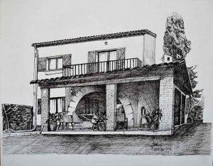 Dibujo a tinta de una casa