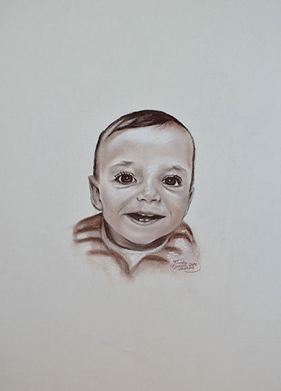Retrato de bebé a sepia