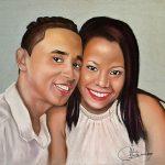 Retrato pintado en pastel de pareja