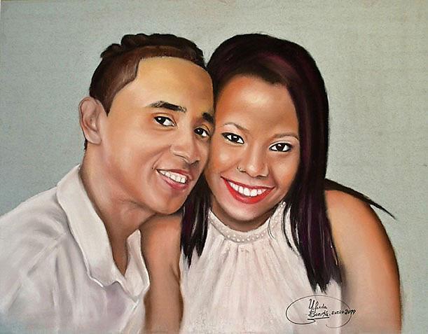 Retrato a pastel de pareja