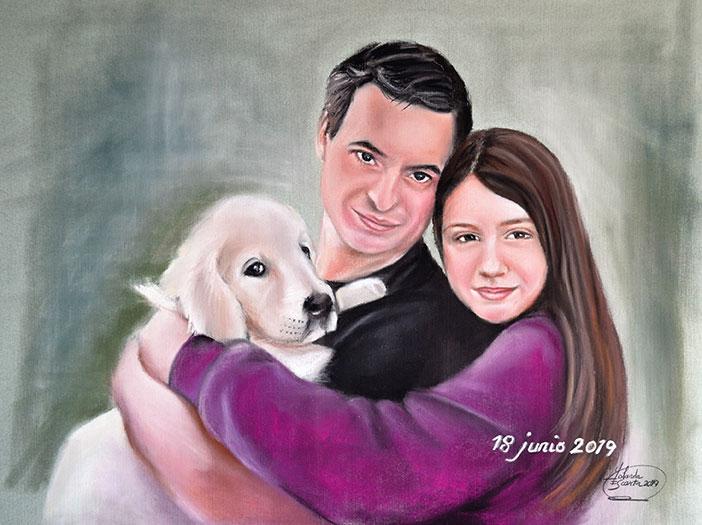 Retrato a pastel padre, hija y mascota
