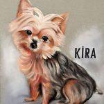 Retrato pintado a pastel de la perrita Kira