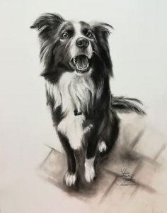 Mascota pintada a carboncillo