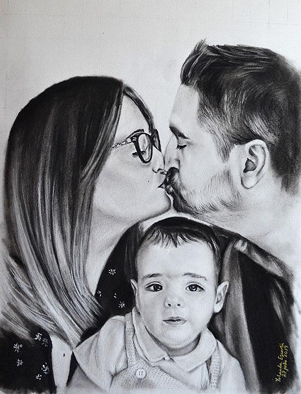 Retrato familiar poro encargo pintado a carboncillo