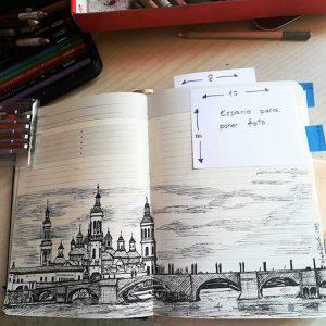Dibujo a tinta El Pilar Pintoturetrato
