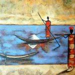Cuadro pintado a oleo de tema étnica