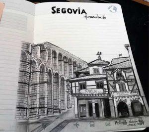 Dibujo a tinta y lápiz Segovia Pintoturetrato