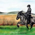 pintura carboncillo y pastel de caballo y jinete