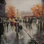 Cuadro pintado a óleo Paris lluvioso