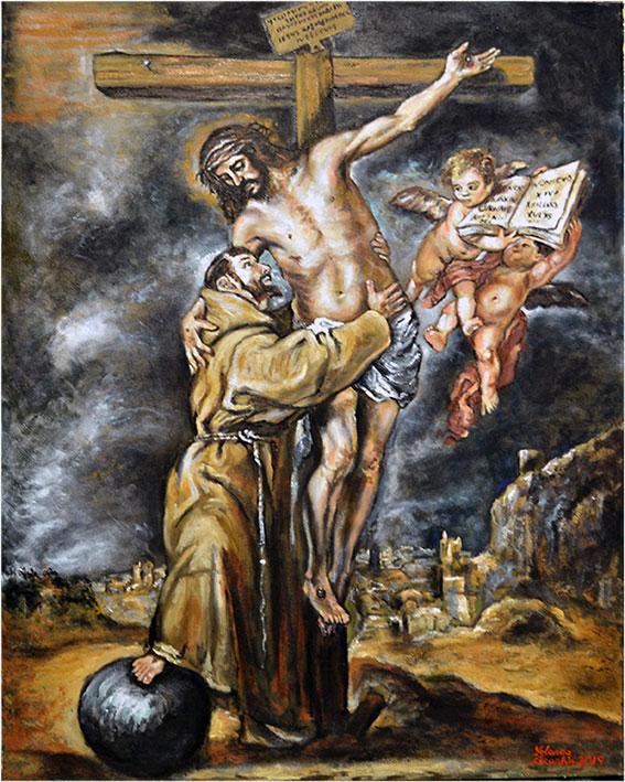 Réplica a óleo de San Francisco abrazando a Cristo en la Cruz