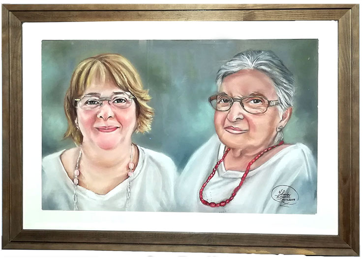 Madre e hija retrato a pastel con marco incluido