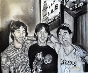 Retrato de tres hermanos pintado a carboncillo