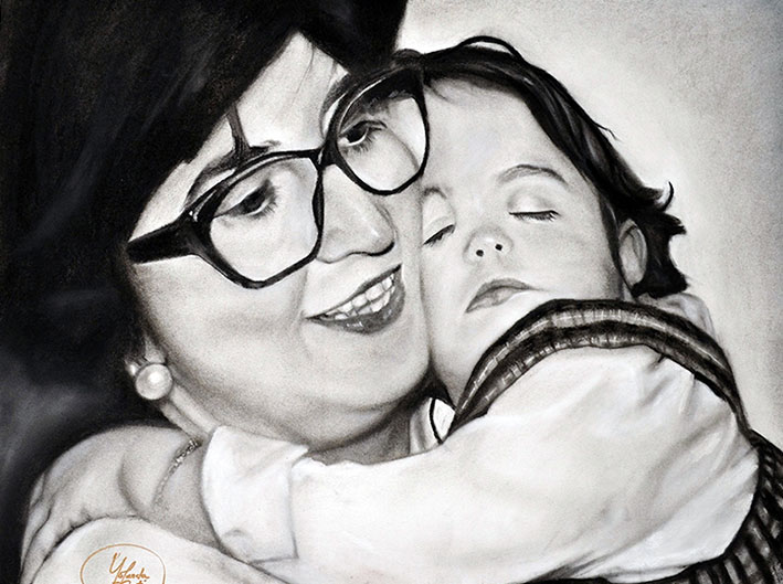 Encargo de retrato a carboncillo y lápiz