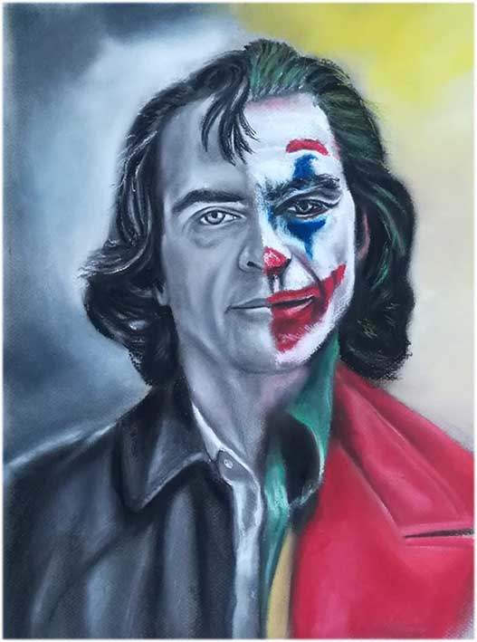 Retrato JOKER carboncillo y pastel
