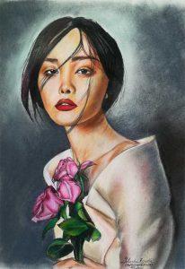 Geisha moderna pintada a pastel y lápices de color Prismacolor