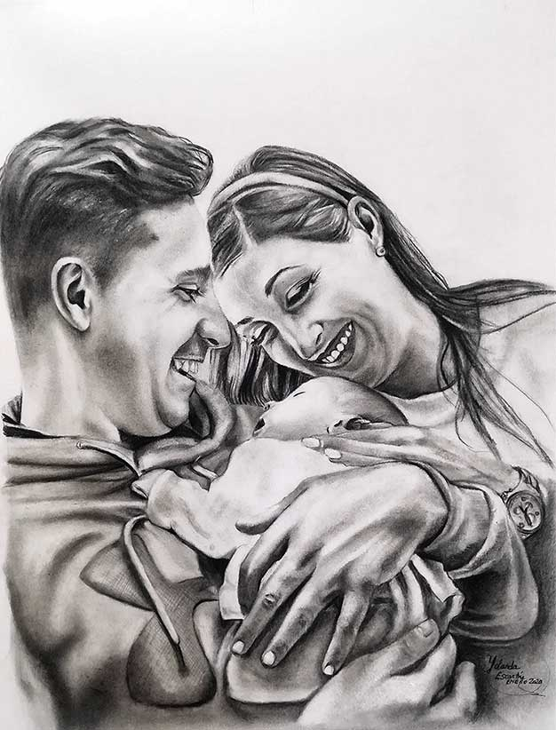 Encargo de retrato familiar pintado a carboncillo y lápiz