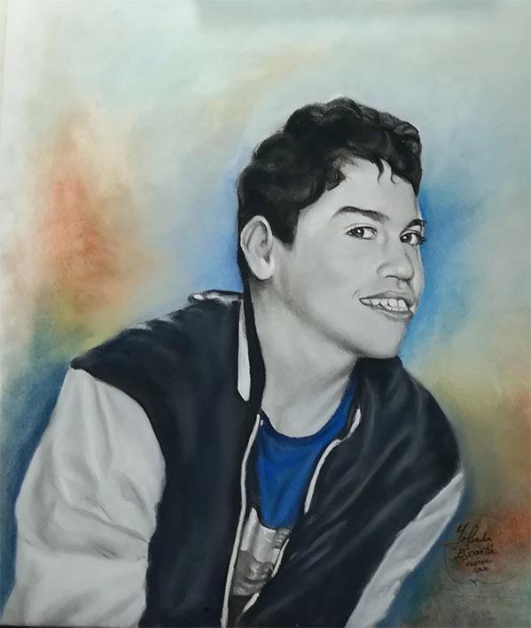 Retrato a carboncillo con fondo de color pastel