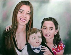 Retrato por encargo de familia pintada a pintura pastel