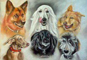 Retratos de perros pintados en pastel