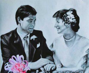 Retrato aniversario pintado a carboncillo y lápiz