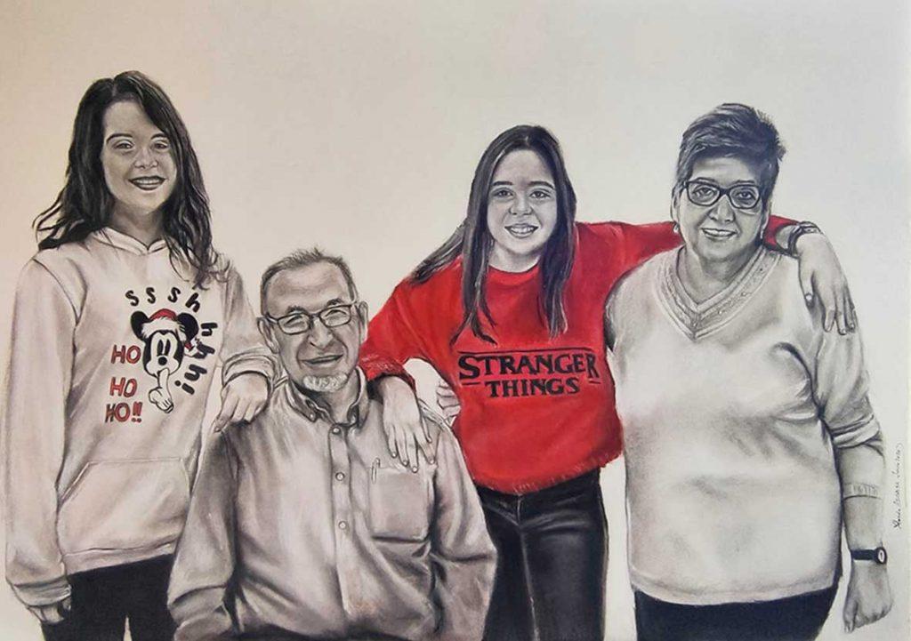 Abuelos y nietas pintado a carboncillo y lápiz