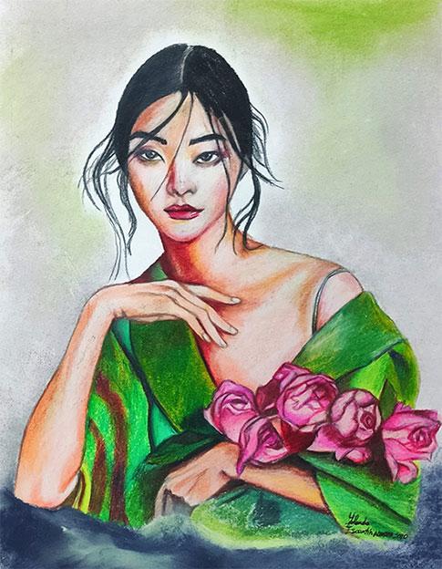 Geisha moderna pintada con prismacolor
