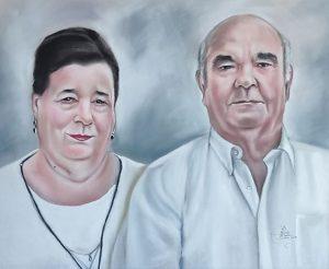 Retrato de matrimonio pintado en pastel